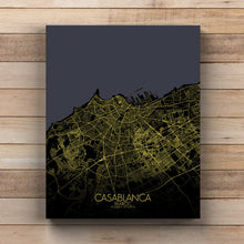 Load image into Gallery viewer, Mapospheres Casablanca Night full page design canvas city map