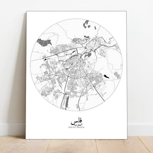 Mapospheres fez Black and White full page design canvas city map