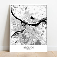 Load image into Gallery viewer, Mapospheres Belgrade Black and White round shape design canvas city map