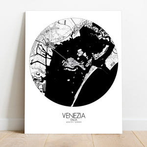 Mapospheres Venice Black and White round shape design canvas city map