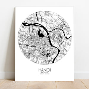 Mapospheres Hanoi Black and White round shape design canvas city map