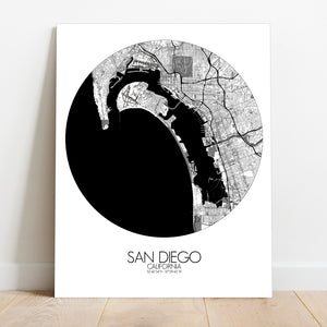 Mapospheres San Diego Black and White round shape design canvas city map