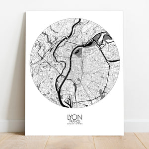 Mapospheres Lyon Black and White round shape design canvas city map