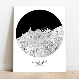 Mapospheres Casablanca Black and White round shape design canvas city map