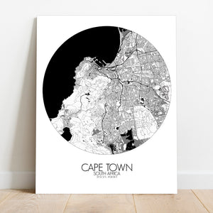 Mapospheres Cape Town Black and White round shape design canvas city map