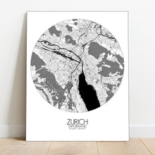 Load image into Gallery viewer, Mapospheres zurich Night full page design canvas city map