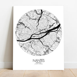 Mapospheres Nantes Black and White round shape design canvas city map