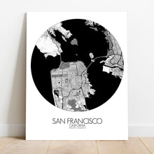 Load image into Gallery viewer, Mapospheres San Francisco Black and White round shape design canvas city map