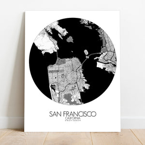 Mapospheres San Francisco Black and White round shape design canvas city map