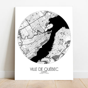 Mapospheres Quebec Black and White round shape design canvas city map