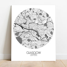 Load image into Gallery viewer, Mapospheres Glasgow Black and White round shape design canvas city map