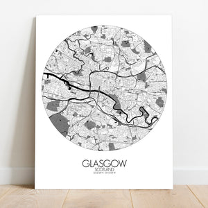 Mapospheres Glasgow Black and White round shape design canvas city map