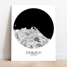 Load image into Gallery viewer, Mapospheres Edinburgh Black and White round shape design canvas city map