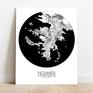 Mapospheres Noumea Black and White round shape design canvas city map