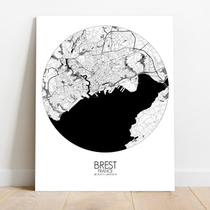 Mapospheres Brest Black and White round shape design canvas city map