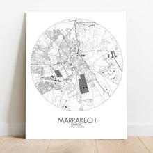 Load image into Gallery viewer, Mapospheres Marrakesh Black and White round shape design canvas city map