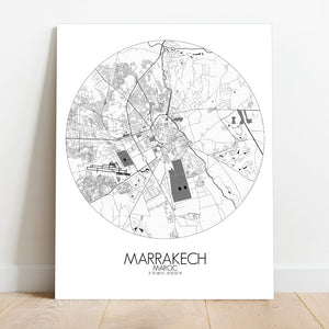 Mapospheres Marrakesh Black and White round shape design canvas city map