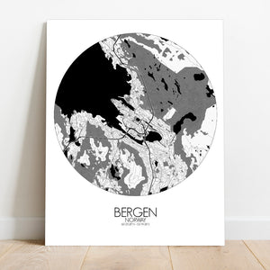 Mapospheres Bergen Black and White round shape design canvas city map