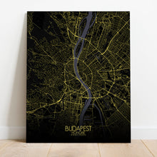Load image into Gallery viewer, Mapospheres budapest Night full page design canvas city map
