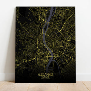 Mapospheres budapest Night full page design canvas city map