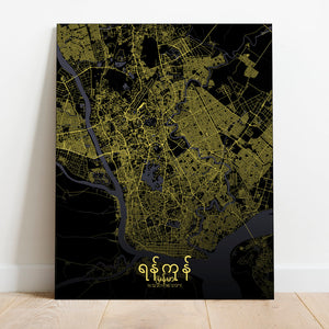 Mapospheres yangon Night full page design canvas city map