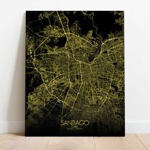 Load image into Gallery viewer, Mapospheres Santiago Night full page design canvas city map