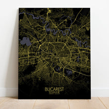 Load image into Gallery viewer, Mapospheres bucharest Night full page design canvas city map