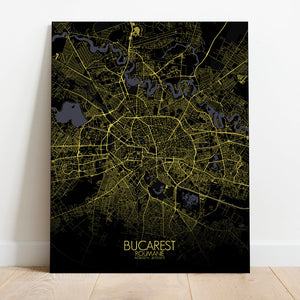 Mapospheres bucharest Night full page design canvas city map