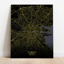 Load image into Gallery viewer, Mapospheres dublin Night full page design canvas city map