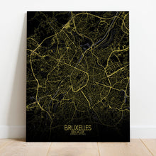 Load image into Gallery viewer, Mapospheres brussels Night full page design canvas city map