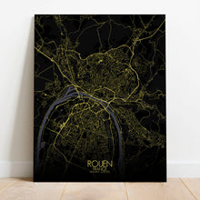 Load image into Gallery viewer, Mapospheres Rouen Night full page design canvas city map