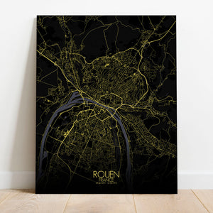 Mapospheres Rouen Night full page design canvas city map