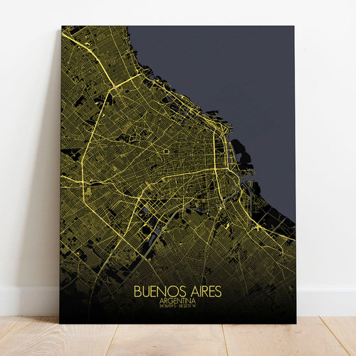 Mapospheres Buenos Aires Night full page design canvas city map