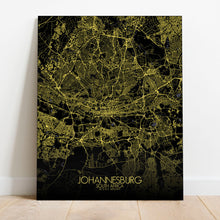 Load image into Gallery viewer, Mapospheres Johannesburg Night full page design canvas city map