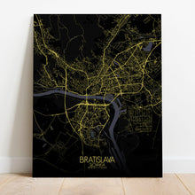 Load image into Gallery viewer, Mapospheres Bratislava Night full page design canvas city map