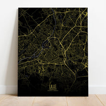 Load image into Gallery viewer, Mapospheres Lille Night full page design canvas city map