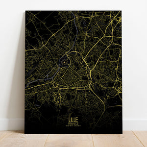 Mapospheres Lille Night full page design canvas city map
