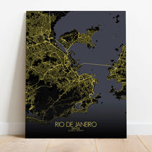 Load image into Gallery viewer, Mapospheres Rio de Janeiro Night full page design canvas city map