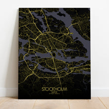 Load image into Gallery viewer, Mapospheres stockholm Night full page design canvas city map