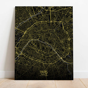 Mapospheres Paris Night Design full page design poster city map