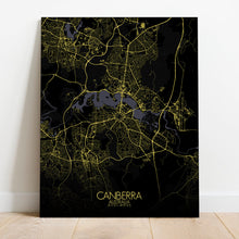 Load image into Gallery viewer, Mapospheres Canberra Night full page design canvas city map