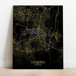 Mapospheres Canberra Night full page design canvas city map