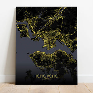 Mapospheres Hong Kong Night full page design canvas city map