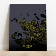 Load image into Gallery viewer, Mapospheres reykjavik Night full page design canvas city map