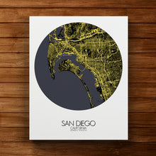 Load image into Gallery viewer, Mapospheres San Diego Night round shape design canvas city map