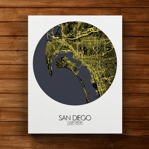Mapospheres San Diego Night round shape design canvas city map