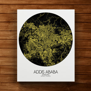 Mapospheres Addis Ababa Night round shape design canvas city map