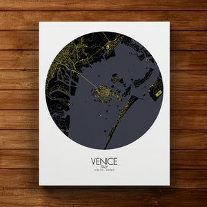 Mapospheres Venice Night round shape design canvas city map
