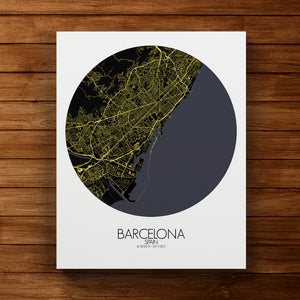 Mapospheres Barcelona Night round shape design canvas city map