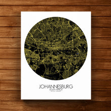 Load image into Gallery viewer, Mapospheres Johannesburg Night round shape design canvas city map
